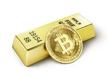 Moneta di bitcoin isolata su un bianco mining illustrazione 3D Immagine Stock Libera da Diritti
