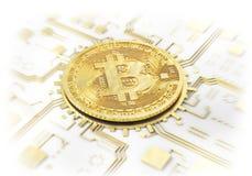 Moneta di bitcoin su un bianco mining illustrazione 3D Fotografia Stock Libera da Diritti