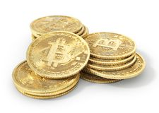 Moneta di bitcoin su un bianco mining illustrazione 3D Immagini Stock