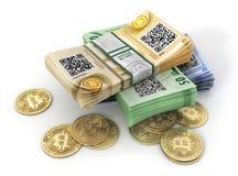 Moneta di bitcoin su un bianco mining illustrazione 3D Immagine Stock