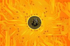 Moneta di cryptocurrency di Bitcoin Fotografia Stock Libera da Diritti