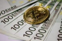 Moneta di Cryptocurrency Bitcoin fotografia stock