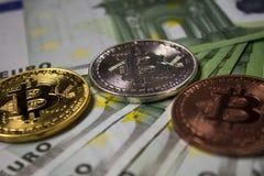 Moneta di Cryptocurrency Bitcoin fotografia stock libera da diritti