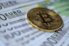 Moneta di Cryptocurrency Bitcoin Fotografie Stock