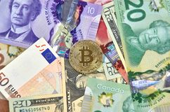 Moneta di cryptocurrency di Bitcoin Fotografie Stock