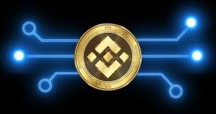 Moneta di cryptocurrency della moneta BNB di Binance con la transazione d'ardore del blockchain archivi video