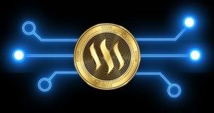 Moneta di cryptocurrency di Steem con il disegno schematico d'ardore di transazione del blockchain illustrazione di stock