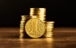 Moneta di hryvnia dell'ucranino uno Fotografie Stock Libere da Diritti