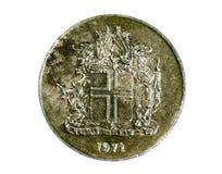 Moneta di 10 Kronur (corona scandinava, stemma), la Banca dell'Islanda Inverta, Fotografie Stock