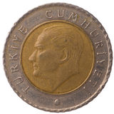 Moneta di kurus di 50 turco, 2009, fronte Fotografia Stock