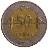 Moneta di kurus di 50 turco, 2009, posteriore Immagine Stock Libera da Diritti