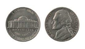 Moneta di nichel degli Stati Uniti uno isolata su bianco Fotografia Stock Libera da Diritti