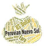 Moneta di Nuevo Sol Shows Foreign Exchange And del peruviano Fotografia Stock