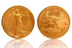 Moneta di oro americana dell'aquila $50 un oro fine dalla 1 oncia Fotografia Stock Libera da Diritti