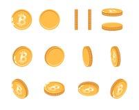 Moneta di oro di Bitcoin agli angoli differenti per l'animazione Insieme di Bitcoin di vettore Illustrazione del bitcoin di valut Fotografia Stock