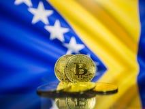 Moneta di oro di Bitcoin e bandiera defocused del fondo della Bosnia-Erzegovina immagini stock libere da diritti