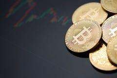 Moneta di oro di Bitcoin e fondo del grafico Immagine Stock Libera da Diritti