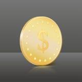 Moneta di oro con il segno del dollaro. Illustrazione di vettore Immagini Stock