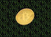 Moneta di oro del primo piano di Bitcoin sui precedenti della matrice fotografie stock libere da diritti