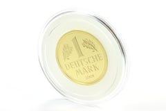1 moneta di oro del segno Fotografie Stock Libere da Diritti