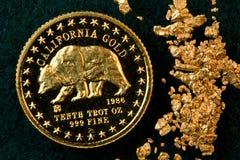 Moneta di oro della California e pepite di oro fotografia stock libera da diritti