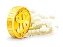Moneta di oro di rotolamento con il segno del dollaro Fotografie Stock