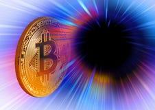 Moneta di oro digitale di cryptocurrency di Bitcoin Immagine Stock Libera da Diritti