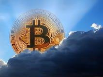 Moneta di oro digitale di cryptocurrency di Bitcoin Immagini Stock Libere da Diritti