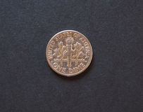1 moneta di USD della moneta da dieci centesimi di dollaro, Stati Uniti Fotografia Stock Libera da Diritti
