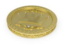 Moneta dorata con il reticolo fiorito Fotografia Stock Libera da Diritti