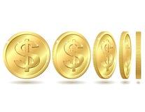 Moneta dorata con il segno del dollaro Fotografia Stock Libera da Diritti