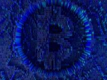 Moneta dorata con il simbolo di Bitcoin Valuta di Digital 3d Fotografia Stock