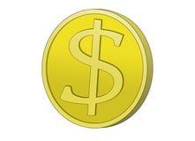 Moneta dorata del dollaro Immagini Stock Libere da Diritti