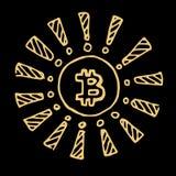 Moneta dorata del pezzo, Bitcoin per il segno, logo, web, insegna, icona Moneta con il simbolo di valute r Ske di scarabocchio Immagini Stock Libere da Diritti