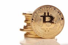 Moneta dorata di Bitcoin Fotografie Stock