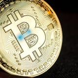 Moneta dorata di Bitcoin Fotografia Stock Libera da Diritti