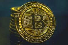 Moneta dorata di Bitcoin, concetto di cryptocurrency, concetto del mercato del bitcoin, cryptocoins Immagine Stock Libera da Diritti