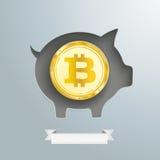 Moneta dorata di Bitcoin del porcellino salvadanaio Immagine Stock Libera da Diritti