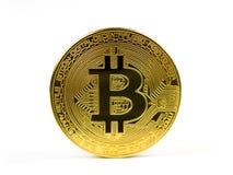 Moneta dorata di Bitcoin isolata su un fondo bianco Fotografia Stock