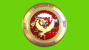 Moneta dorata di filatura di Bitcoin SV illustrazione di stock