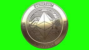Moneta dorata di filatura di Ethereum illustrazione vettoriale