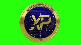 Moneta dorata di filatura di XP dei punti di esperienza illustrazione di stock