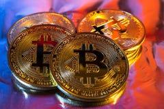 Moneta dorata fisica del bitcoin di Cryptocurrency su fondo variopinto Fotografia Stock Libera da Diritti