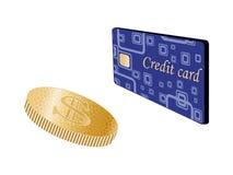 Moneta e carta di credito Fotografie Stock Libere da Diritti