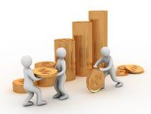 Moneta e gente dorate Fotografia Stock Libera da Diritti