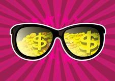 Moneta e lingotto di oro visibili di vetro Immagine Stock