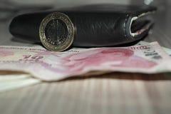 Moneta e portafoglio turchi immagini stock libere da diritti