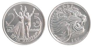 Moneta etiopica dei centesimi Fotografia Stock Libera da Diritti
