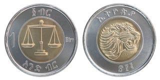 Moneta etiopica del birr Fotografia Stock