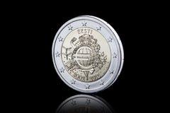 moneta Euro moneta isolata su fondo nero Fotografia Stock Libera da Diritti